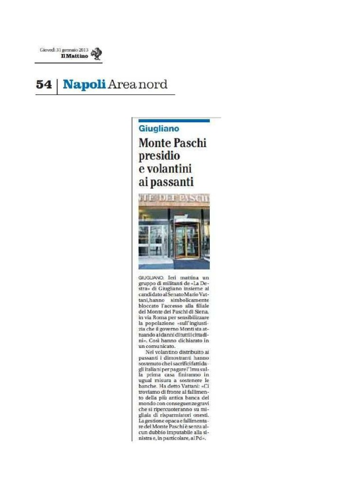 Leggi l'articolo del Mattino di Napoli del 31.01.2013